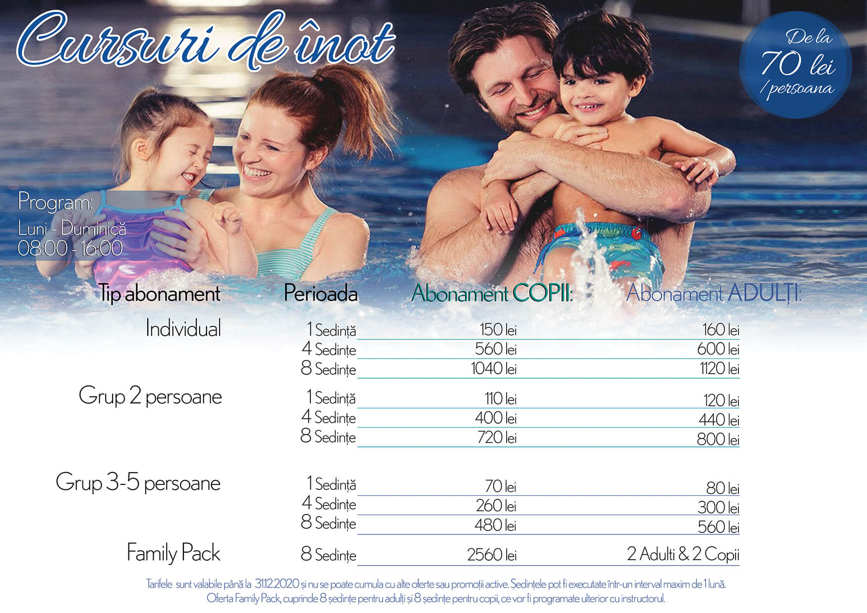 Oferta cursuri inot individual grup 2 grup 3-5 personal trainer family pack